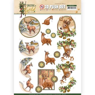 Amy Design 3D Push Out, Christmas in Gold - Deers in Gold