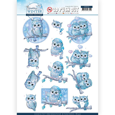Yvonne Creations 3D Push Out, Sparkling Winter - Winter Owls