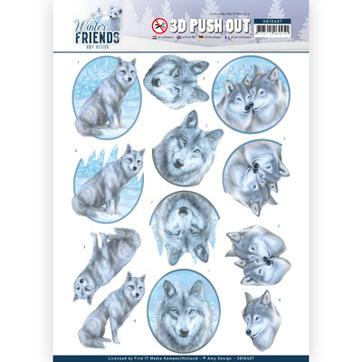 Amy Design 3D Push Out, Winter Friends - Winter Wolves