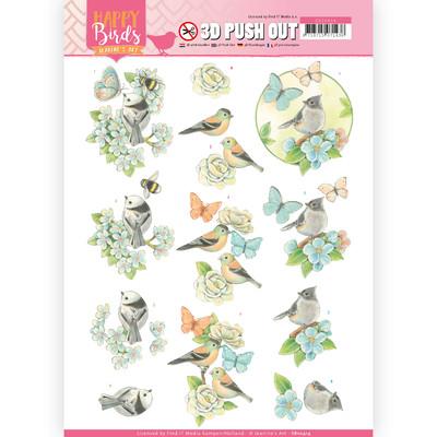 Jeanine's Art 3D Push Out, Happy Birds - Blue Dance