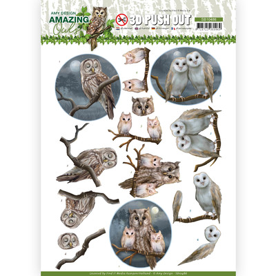 Amy Design 3D Push Out, Amazing Owls - Night Owls