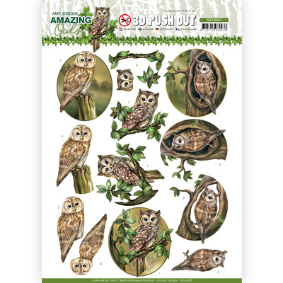 Amy Design 3D Push Out, Amazing Owls - forest Owls