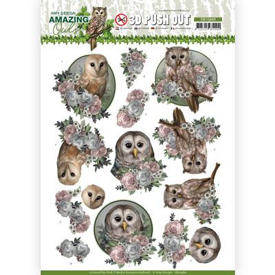 Amy Design 3D Push Out, Amazing Owls - Romantic Owls