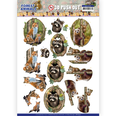 Amy Design 3D Push Out, Forest Animals - Fox