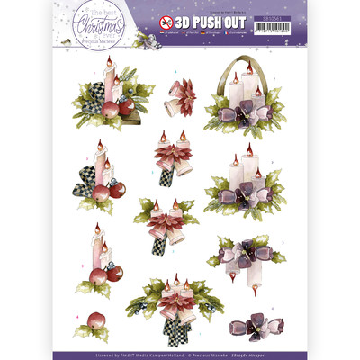 Precious Marieke 3D Push Out, TBCE - Purple Flowers & Candles