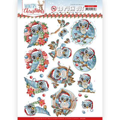 Yvonne Creations 3D Push Out, Wintry Christmas - Christmas Owls