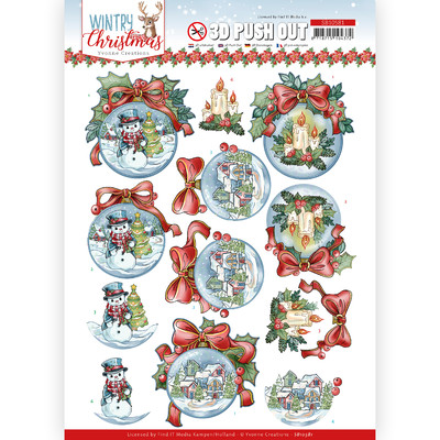 Yvonne Creations 3D Push Out, Wintry Christmas - Baubles