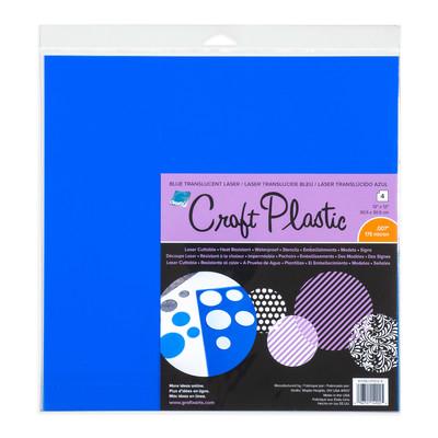 """Craft Plastic Film, .007 Trans. Blue Laser - 12"""" x 12"""" (4pc)"""