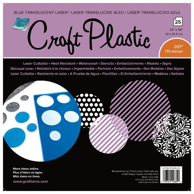 """Craft Plastic Film, .007 Trans. Blue Laser - 24"""" X 36"""" (25pc)"""
