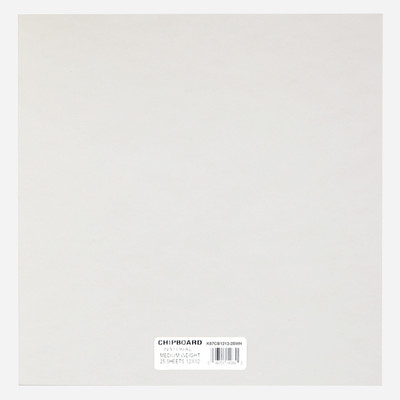 """Chipboard, .057 White - 12"""" x 12"""" (25 Pack)"""