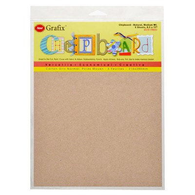 """Chipboard, .057 Natural - 8.5"""" x 11"""" (6 Pack)"""