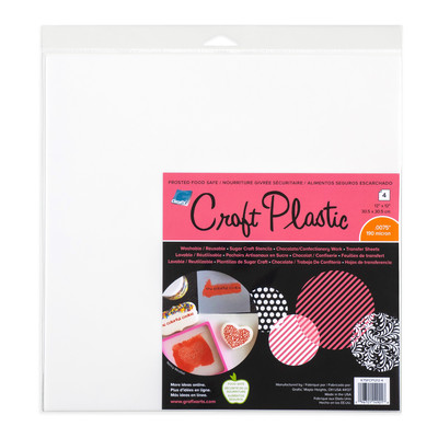 """Craft Plastic Film, .0075 Frosted Food Safe - 12"""" x 12"""" (4pc)"""