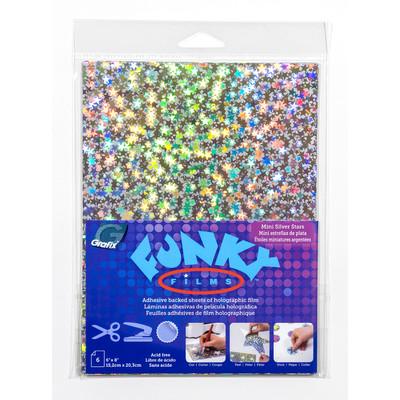"""Funky Film, Mini Silver Stars - 6"""" x 8"""" (6 Pack)"""