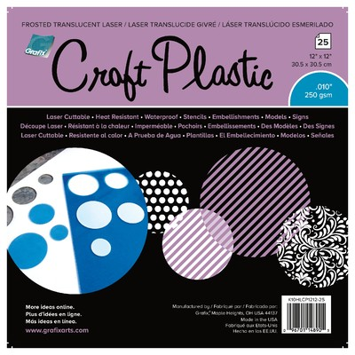 """Craft Plastic Film, .010 Frosted Laser - 12"""" x 12"""" (25pc)"""