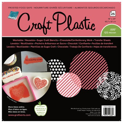 """Craft Plastic Film, .005 Frosted Food Safe - 18"""" X 24"""" (25pc)"""