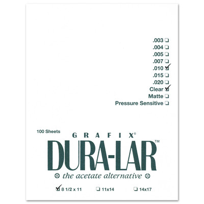 """Clear Dura-Lar Film Pack, .010 - 8.5"""" x 11"""" (100 Sheets)"""