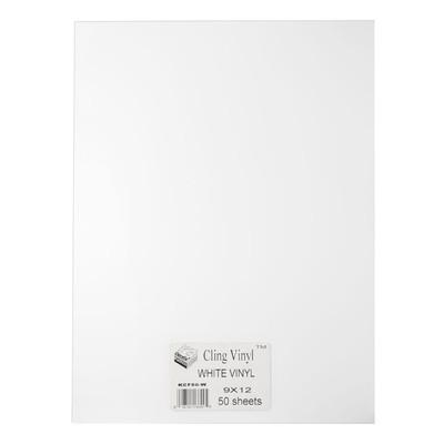 """Cling Vinyl Film, White - 9"""" x 12"""" (50 Pack)"""