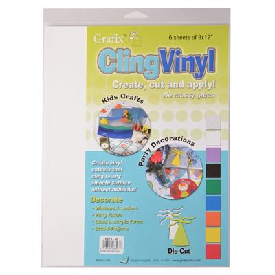 """Cling Vinyl Film, White - 9"""" x 12"""" (6 Pack)"""