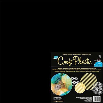 """Craft Plastic Film, .010 Opaque Black - 12"""" x 12"""" (4 Pack)"""
