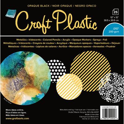 """Craft Plastic Film, .010 Opaque Black - 12"""" x 12"""" (25 Pack)"""
