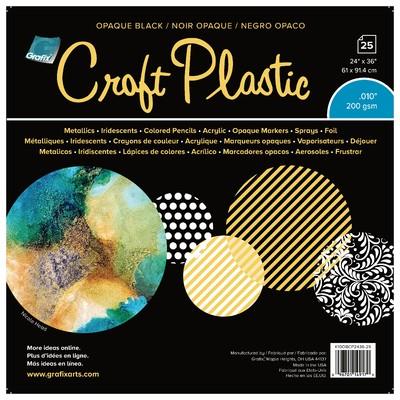 """Craft Plastic Film, .010 Opaque Black - 24"""" X 36"""" (25 Pack)"""
