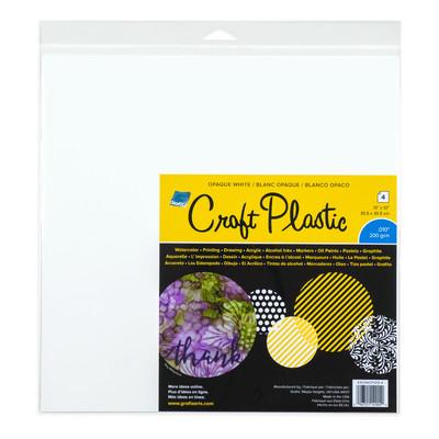 """Craft Plastic Film, .010 Opaque White - 12"""" x 12"""" (4 Pack)"""