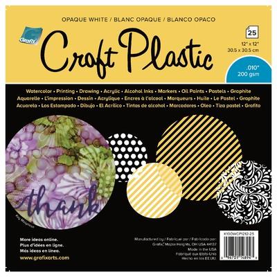 """Craft Plastic Film, .010 Opaque White - 12"""" x 12"""" (25 Pack)"""