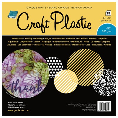 """Craft Plastic Film, .010 Opaque White - 24"""" X 36"""" (25 Pack)"""