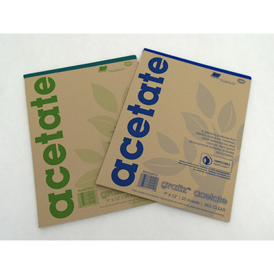 """Clear Acetate Film Pad, .003 - 9"""" x 12"""" (25 Sheets)"""