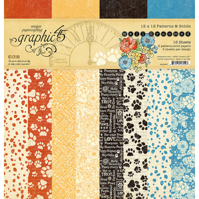 12X12 Paper Pad, Patterns & Solids - Well Groomed