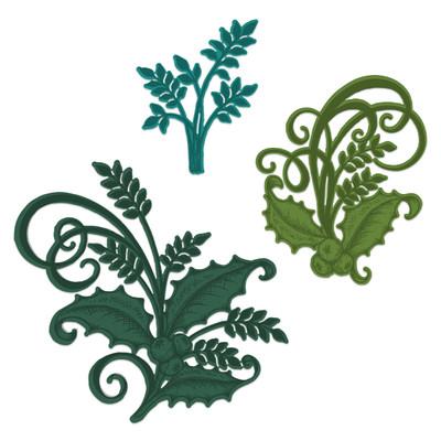 Die, Festive Poinsettia - Holly Berry Spray
