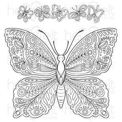 Cling Stamp, Floral Butterfly - Large Floral Butterfly