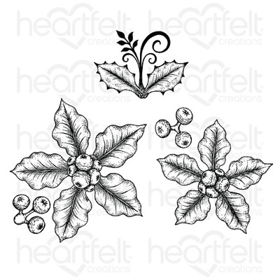 Cling Stamp, Festive Poinsettia - Small Festive Poinsettia