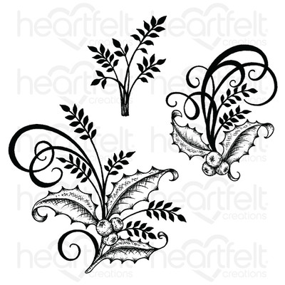 Cling Stamp, Festive Poinsettia - Holly Berry Spray