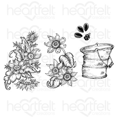 Cling Stamp, Rustic Sunflower Bucket
