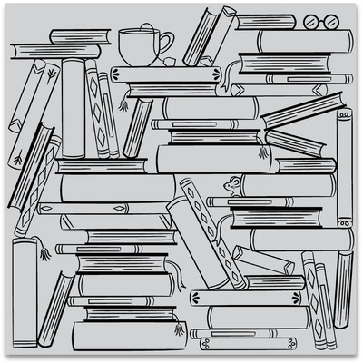 Bold Prints Cling Stamp, Book Stacks