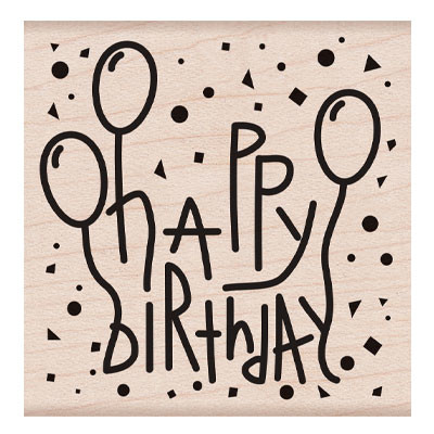 Wood Stamp, Happy Birthday Confetti and Balloons