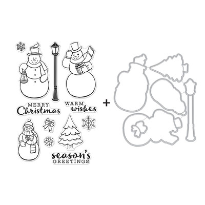 Clear Stamp & Die Combo, Merry Snowmen
