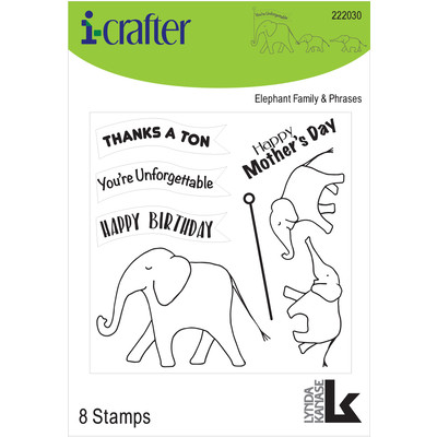 Clear Stamp, Elephant Family w/Phrases