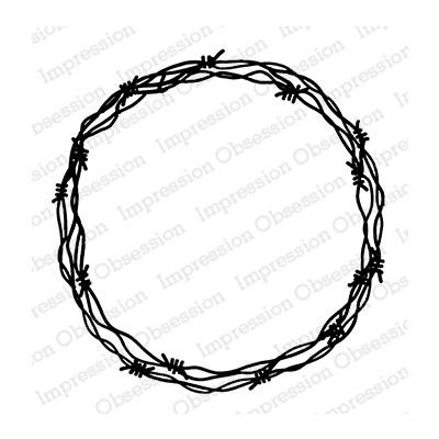 Cling Stamp, Barbed Wire Wreath