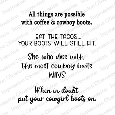 Clear Stamp, Cowboy Boot Sayings 1