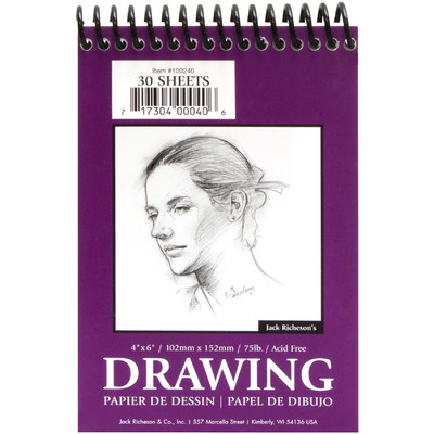 """Drawing Pad 75#, Top Spiral Bound - 4"""" x 6"""" (30 Sheets)"""