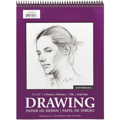 """Drawing Pad 75#, Top Spiral Bound - 9"""" x 12"""" (30 Sheets)"""
