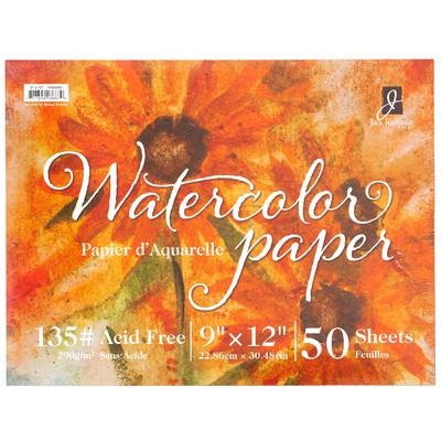"Watercolor Paper 135# Cold Press, 9"" x 12"" (50 Sheets)"