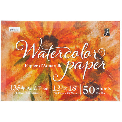 "Watercolor Paper 135# Cold Press, 12"" x 18"" (50 Sheets)"