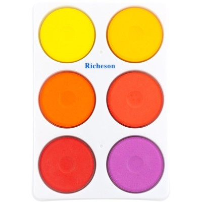Tempera Cake Set, Large - Warm in Plastic Tray (6 Pack)