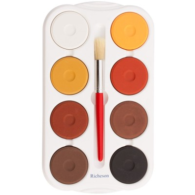 Tempera Cake Set, Large - Multicultural in HD Tray w/Brush (8)