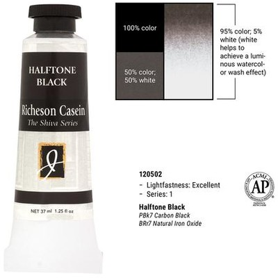 Richeson Casein, Halftone Black (1.25oz)