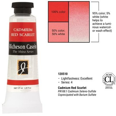 Richeson Casein, Cadmium Red Scarlet (1.25oz)