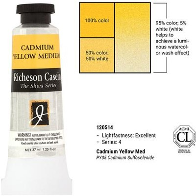 Richeson Casein, Cadmium Yellow Medium (1.25oz)